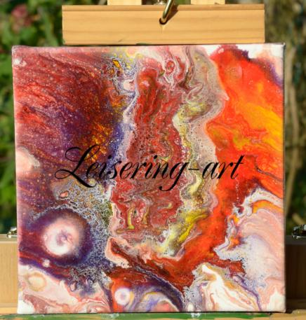 Nr.18, 20 cm x 20 cm, Acryl auf Canvas Fluid Art